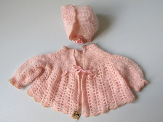 vintage Baby Clothes / Baby Sweater / Baby Sweater and Bonnet / Infant Sweater Set