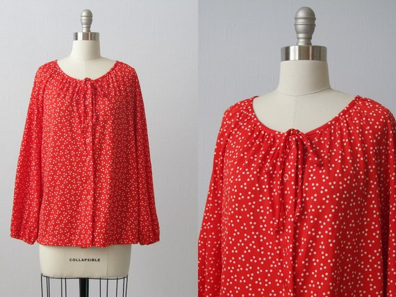 Vintage Peasant Blouse  / Tunic Blouse / Red with White Polka Dots