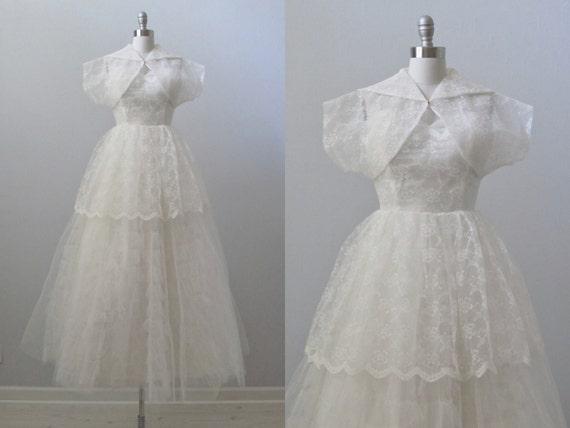 RESERVED vintage 1950s Wedding Dress / Lace Dress with Jacket / Strapless Wedding Dress / Sophia
