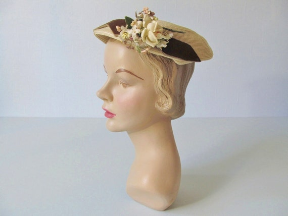 vintage 1950s Hat / 50s Hat  / Straw Toque / Sweetly Styled