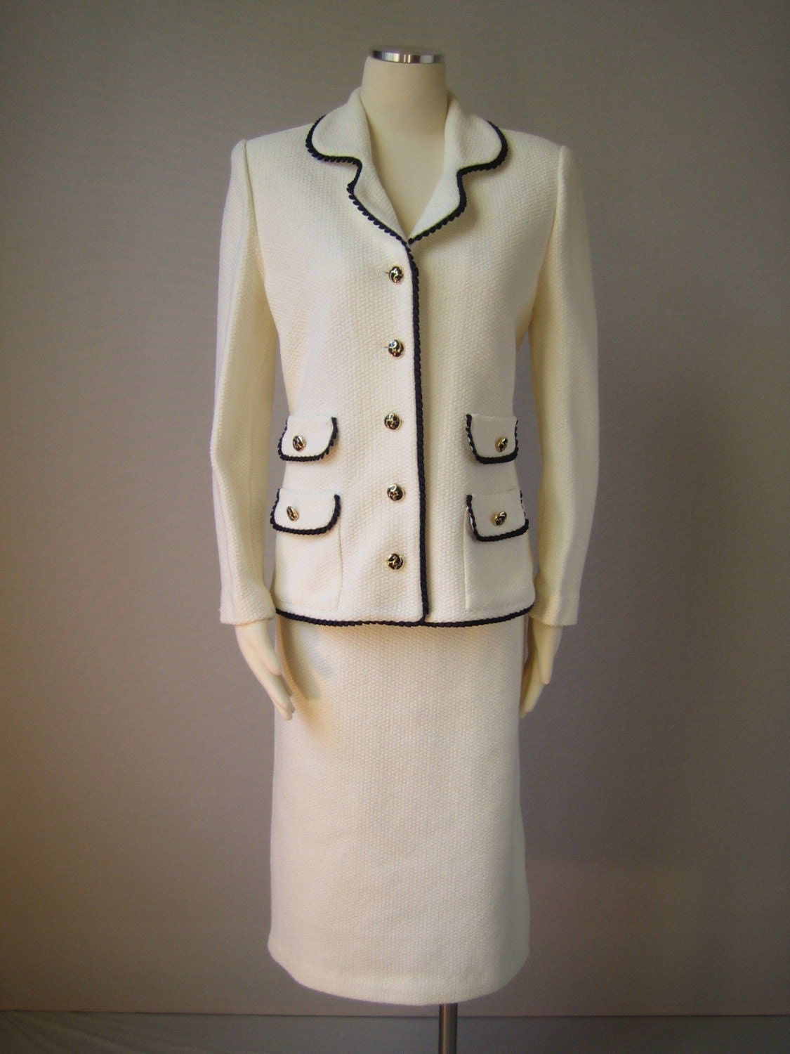 SALE vintage Chanel Inspired SUIT 1980's Cream with NAVY