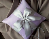 Romantic Satin Ring Bearer Pillow...You Choose the Colors...Buy One Get One Half Off...shown in lilac/silver