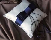 Triple Bow SATIN Ring Bearer Pillow...You Choose Your Colors..Buy One Get One Half Off...shown in white/navy