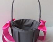 Custom Colors Satin Flower Girl Basket..BOGO Half Off..You Choose the Colors... shown in pewter/fuschia hot pink