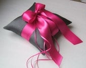Romantic Dupioni Silk Ring Bearer Pillow...You Choose the Colors...Buy One Get One Half Off...shown in deep grey pewter/fuschia hot pink
