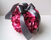 Set of 10 Deluxe 7 Inch Silk Flower Pomanders.. You Choose the Colors..shown in fucshia/pewter gray