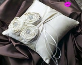 Dupioni Silk Flower Trio Ring Pillow with Rhinestone Accents...Shown in Creme Ivory..50 Plus Colors Available