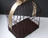 Chocolate Brown and Champagne Wedding Card Box Bird Cage with Rhinestone Accent..Any Color Available...