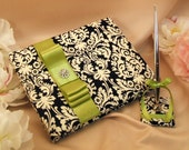 Ivory and Black Damask Wedding Guest Book Set...Dominate Pattern...You Choose the Colors..shown in bright sage