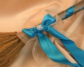Classic Jump Broom Made in Your Custom Colors with Rhinestone Accent ..shown in pewter/jade