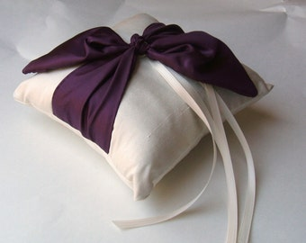 Dupioni Silk Knottie Ring Bearer Pillow...You Choose the Silk Colors....Buy One Get One Half Off..shown in Ivory/Eggplant