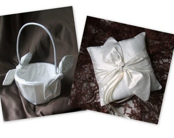 Knottie Style Flower Girl Basket and Ring Bearer Pillow Combo in Raw Dupioni Silk...YOU CHOOSE THE COLORS