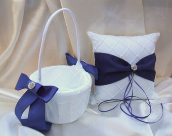 Pintuck Taffeta Diamonds Ring Pillow and Flower Girl Basket Set...many colors available..shown in white/royal blue