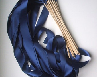 Instead of Rice Jumbo Ribbon Streamer Sticks..PACK OF 50...You choose the Ribbon Color..shown in navy blue midnight