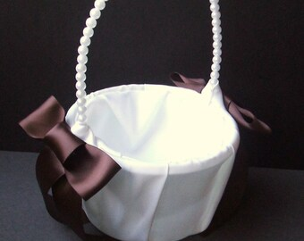 Custom Colors Pearl Handled Flower Girl Basket .....BOGO Half Off...You Choose the Colors..shown in white/chocolate brown