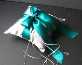 Romantic Satin Ring Bearer Pillow...You Choose the Colors...Buy One Get One Half Off...shown in millenium silver/teal oasis