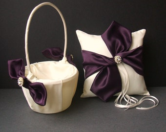 Knottie Style Flower Girl Basket Ring Bearer Pillow Set with Silvertone Accent...You Choose The Colors..shown in eggplant/ivory