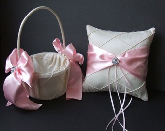 Pintuck Taffeta Diamonds Ring Bearer Pillow  and Flower Girl Basket Set in Ivory with Blush Pink Accents..Many Colors Available..