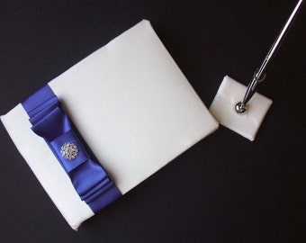 Romantic Satin Wedding Guest Book and Pen Set with Rhinestone Accent...You Choose the Satin Colors.... shown in ivory/royal blue