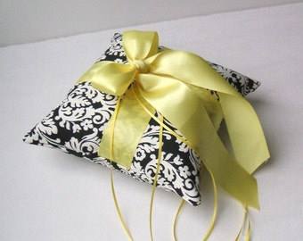 Romantic Waverly Black and Ivory Damask Ring Bearer Pillow..BOGO Half Off...You Choose The Ribbon Colors..shown in yellow