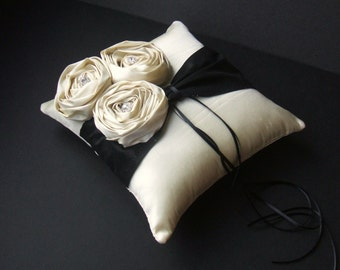 Dupioni Silk Flower Trio Ring Pillow with Rhinestone Accents...Shown in Creme Ivory/black..50 Plus Colors Available