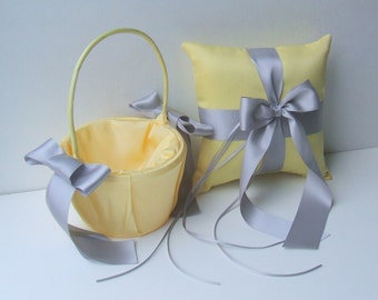 Custom Colors Flower Girl Basket and Romantic Satin Ring Bearer Pillow Combo...You Choose The Colors...shown in bright yellow/silver gray