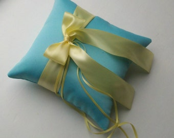 Pretty Satin Ring Bearer Pillow...You Choose the Colors...Buy One Get One Half Off...shown in turquoise / butter yellow