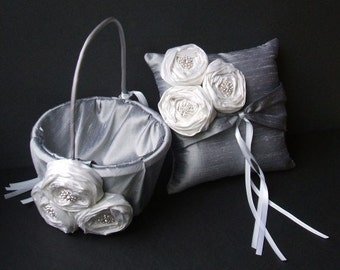 Dupioni Silk Flower Trio Ring Pillow and Flower Girl Basket Set with Rhinestone Accents...Shown in Silver/White..50 Plus Colors Available