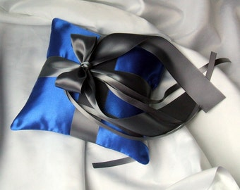 Romantic Satin Ring Bearer Pillow...You Choose the Colors...Buy One Get One Half Off...shown in saphire deep royal blue/charcoal grey