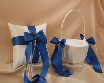 Romantic Satin Ring Bearer Pillow and Flower Girl Basket ...You Choose The Colors..Shown in ivory/royal blue