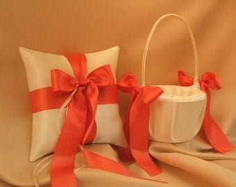 Custom Colors Flower Girl Basket and Ring Bearer Pillow Set...You Choose The Colors..shown in ivory/coral guava