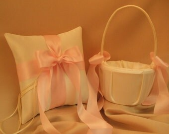 Custom Colors Flower Girl Basket and Ring Bearer Pillow Set...You Choose The Colors..shown in ivory/pale pink