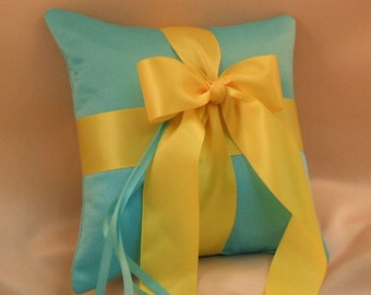 Romantic Satin Ring Bearer Pillow...You Choose the Colors...Buy One Get One Half Off...shown in turquoise/yellow