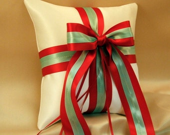 Romantic Satin Ring Bearer Pillow...You Choose the Colors...Buy One Get One Half Off...shown in white/red/aqua