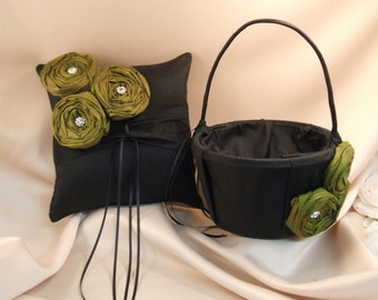 Dupioni Silk Flower Trio Ring Pillow and Flower Girl Basket Set with Rhinestone Accents..Shown in Black/Artichoke Green..50 Plus Colors