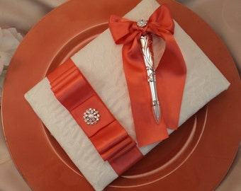 Lovely Satin and Lace Wedding Guestbook Set with Vibrant Rhinestone Accent..You Choose Your Colors..Shown in ivory/guava coral