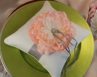 Romantic Peony Bloom Ring Bearer Pillow with Crystal Rhinestone Accents..shown in white/silver gray/blush peony