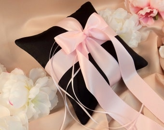 Romantic Satin Ring Bearer Pillow...You Choose The Colors...Buy One Get One Half Off...shown in black/pale pink