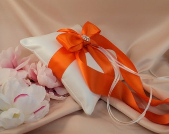 Romantic Satin Elite Ring Bearer Pillow...You Choose the Colors...Buy One Get One Half Off...shown in ivory/orange