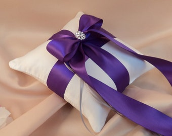 Romantic Satin Elite Ring Bearer Pillow...You Choose the Colors...Buy One Get One Half Off...shown in white/royal purple