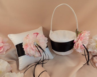 Romantic Peony Bloom Ring Bearer Pillow and Flower Girl Basket Set with Crystal Rhinestone Accents..shown in white/black/blush pink