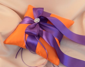 Romantic Satin Elite Ring Bearer Pillow...You Choose the Colors...Buy One Get One Half Off...shown in orange/royal purple