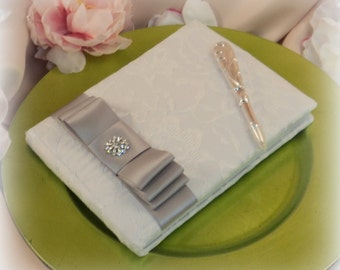 Lovely Satin and Lace Wedding Guestbook Set with Vibrant Rhinestone Accent..You Choose Your Colors..Shown in white/gray silver