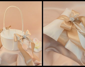 Custom Colors Satin Elite Ring Bearer Pillow and Flower Girl Basket Set...You Choose the Colors...shown in ivory/champagne