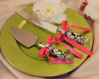 Waverly Black/Ivory Damask Cake Server Set with Rhinestone Accent ..You Choose The Bow Colors..shown in hot pink fuschia