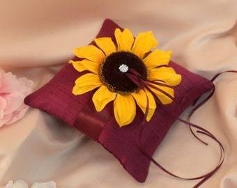 Romantic Bloom Silk Ring Bearer Pillow with Rhinestone Accent...You Choose the Ribbon Colors..shown in scarlett red