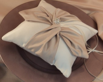 Knottie Ring Bearer Pillow with Rhinestone Accent...You Choose the Colors....BOGO Half Off..shown in ivory/champagne