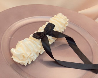 Luxe Bridal Garter..You Choose the Colors..Shown in ivory/black