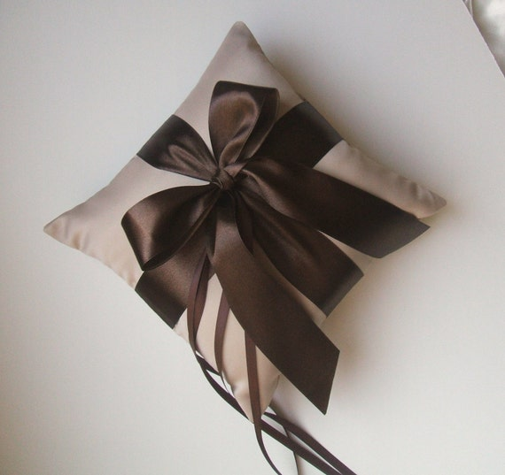 Romantic Satin Ring Bearer Pillow...You Choose the Colors...Buy One Get One Half Off...shown in champagne/chocolate brown