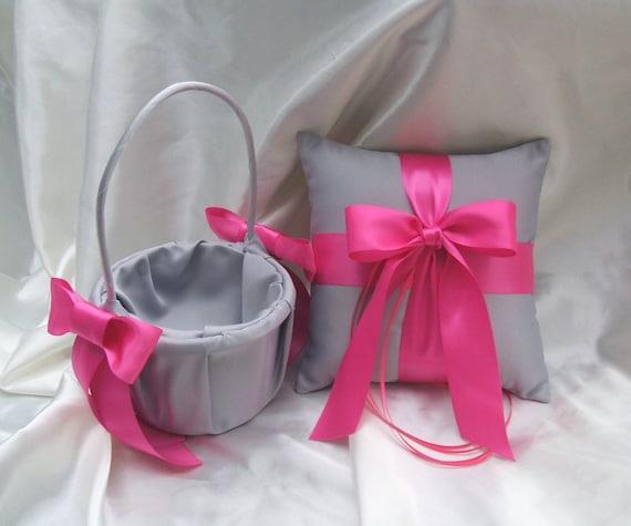 Flower Girl Baskets Canada : Custom colors flower girl basket and romantic satin ring